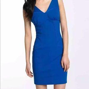 DVF blue ponte knit piping Twila sheath dress 12 L